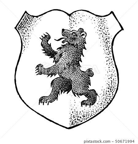 Animal for Heraldry in vintage style. Engraved coat of arms with bear. Medieval Emblems and the logo 50671994