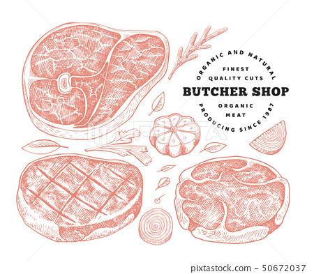 Vintage vector meat illustration. Hand drawn steak 50672037