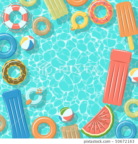Swimming pool with rafts rubber rings top view 50672163