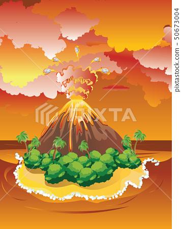 Cartoon Volcano Eruption 50673004