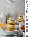 Beautiful pancakes with Sifting sugar powder. 50673576