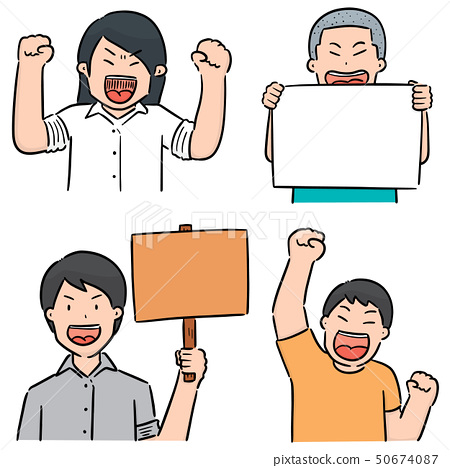 vector set of protester 50674087