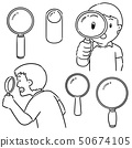 vector set of magnifying glass 50674105