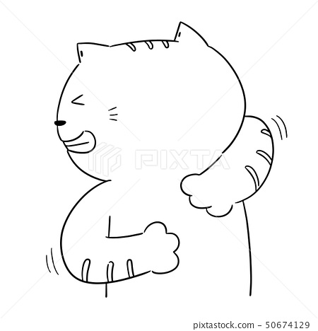 vector of cat scratching back 50674129