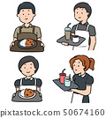 vector set of waiter and waitress 50674160