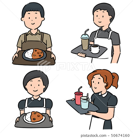 vector set of waiter and waitress 50674160