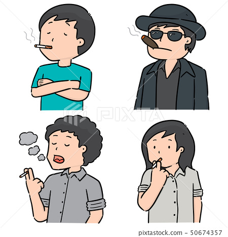 vector set of men smoking cigarettes 50674357