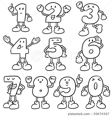 vector set of number cartoon 50674387