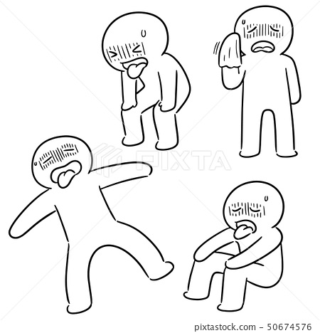 vector set of tired people 50674576