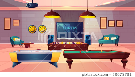 Recreation room for leisure in house basement 50675781