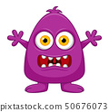 Cute little purple cartoon monster isolated 50676073