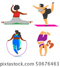 Fitness girls Plus Size. Health sport in club. Set of Fat Woman doing exercises, loses weight 50676463