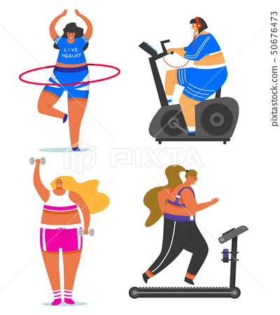 Fitness girls Plus Size. Health sport in club. Set of Fat Woman doing exercises, loses weight 50676473