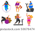Fitness girls Plus Size. Health sport in club. Set of Fat Woman doing exercises, loses weight 50676474