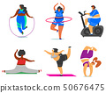 Fitness girls Plus Size. Health sport in club. Set of Fat Woman doing exercises, loses weight 50676475