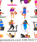 Fitness girls Plus Size seamless pattern. Health sport in club. Fat Woman doing exercises, loses 50676477