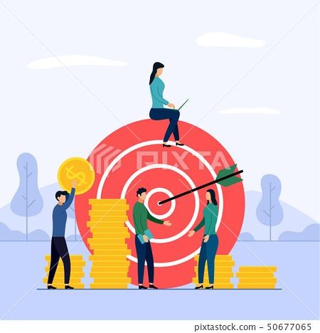 Target business teamwork, arrow hitting a target 50677065