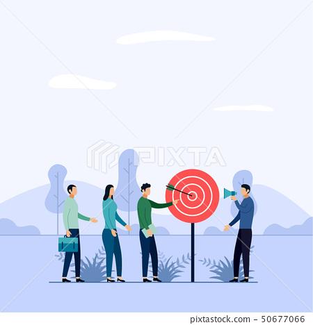 Target business teamwork, arrow hitting a target 50677066