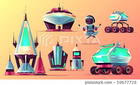 Set of future space exploring cartoon icons 50677728