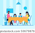 Happy Cartoon Family Have Dinner at Home Together 50679876