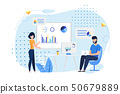 Coworking Office and Employees Flat Illustration 50679889