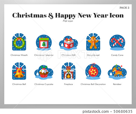 Christmas and happy new year icons flat pack 50680635