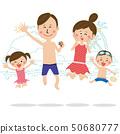 流行音乐家庭穿泳装跳跳跃海岸 50680777