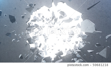 Broken concrete wall into small pieces. Cracked earth, abstract background with volume light rays in 50681218