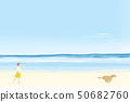 Woman taking a walk with a dog running on the sandy beach in the sunny summer sea 50682760