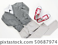 Set of trendy fashion male clothing elements isolated on white, school concept uniform 50687974