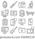 Medical line icons set on white background 50689230