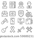 Medical line icons set on white background 50689231