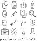 Medical line icons set on white background 50689232