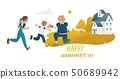 Children running to hug grandfather standing on one knee cartoon style 50689942