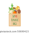 Eco Bag icon with products in flat style. 50690423