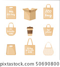 Set of Eco packaging icons in flat style. 50690800