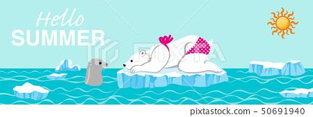 """北極熊和海豹夏季北極海洋字母""""你好夏天""""水平 50691940"""
