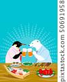 술집에서 맥주를 마시는 펭귄과 북극곰 50691958