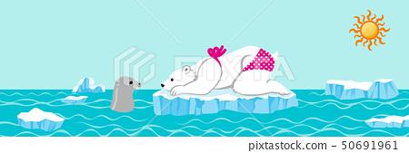 北極熊和封印夏季北冰洋水平 50691961