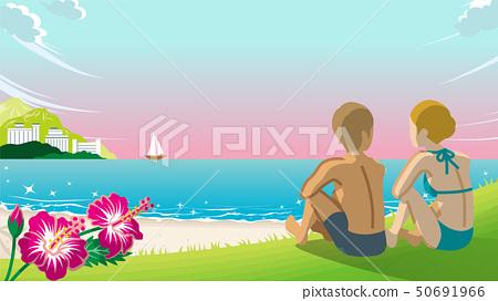 觀看日落夏天海灘的夫婦 50691966