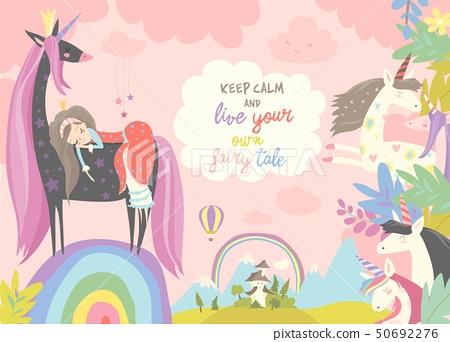Cute cartoon princess with black unicorn.Sweet dream 50692276