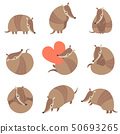 Collection of Cute Adorable Armadillos Pleistocene Animals in Various Poses Vector Illustration 50693265