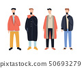Group of stylish cartoon man characters wearing casual clothes sing phones isolated on white 50693279