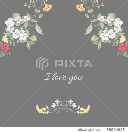 時尚的邀請卡設計和水彩花卉組合 50694005
