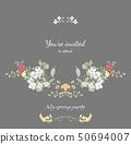時尚的邀請卡設計和水彩花卉組合 50694007