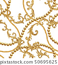 Golden chain glamour baroque style seamless 50695625