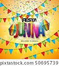 Festa Junina Illustration with Party Flags, Paper Lantern, Colorful Confetti and Typography Letter 50695739