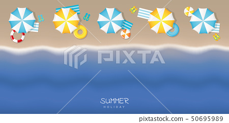 summer holiday on tourist beach with umbrella swim ring and flip flop 50695989