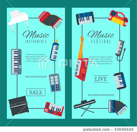 Music keyboard instrument playing synthesizer equipment banner design vector illustration. Harmony 50696688