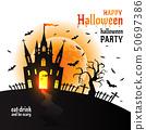 Halloween Dracula s castle. Vector illustration on white. 50697386